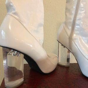 WHITE Jeffrey Campbell Leather & Lucite Ankle Boot